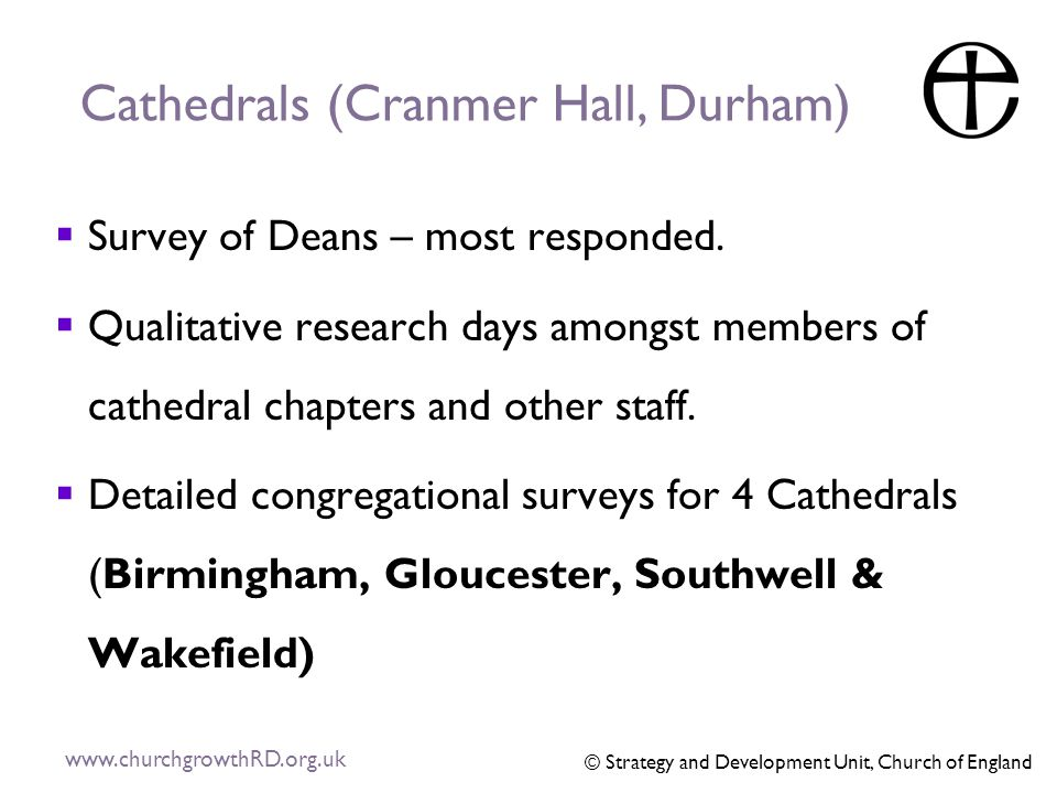 Cathedrals (Cranmer Hall, Durham)  Survey of Deans – most responded.
