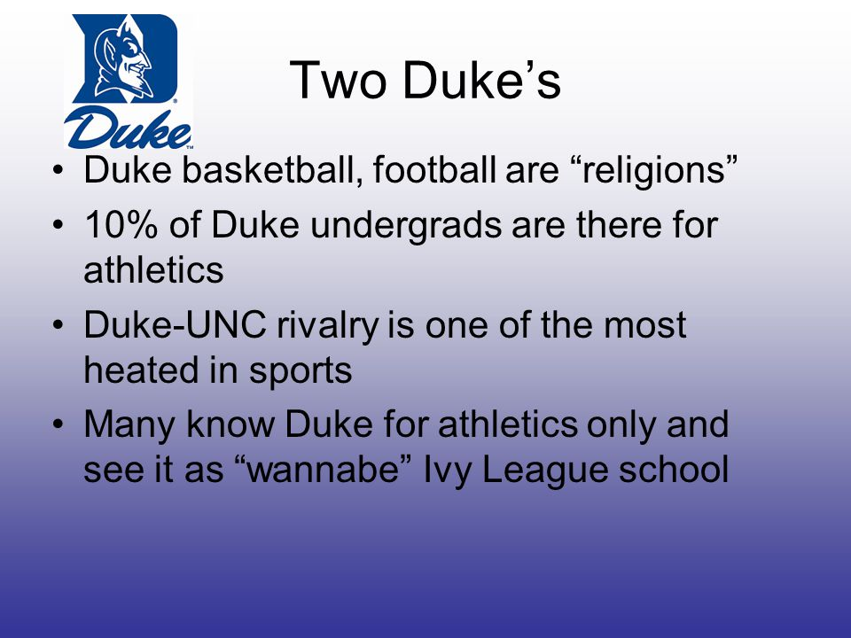 Two Duke's Duke basketball, football are religions 10% of Duke undergrads are there for athletics Duke-UNC rivalry is one of the most heated in sports Many know Duke for athletics only and see it as wannabe Ivy League school