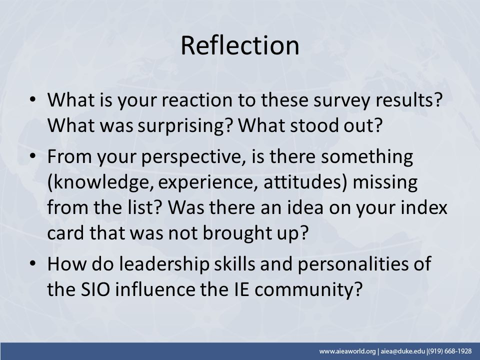 Reflection What is your reaction to these survey results.