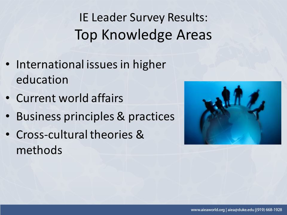 IE Leader Survey Results: Top Knowledge Areas International issues in higher education Current world affairs Business principles & practices Cross-cultural theories & methods