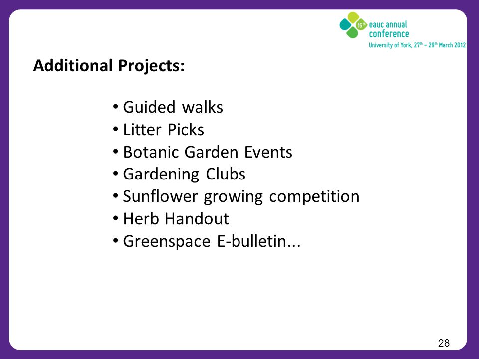 28 Additional Projects: Guided walks Litter Picks Botanic Garden Events Gardening Clubs Sunflower growing competition Herb Handout Greenspace E-bulletin...