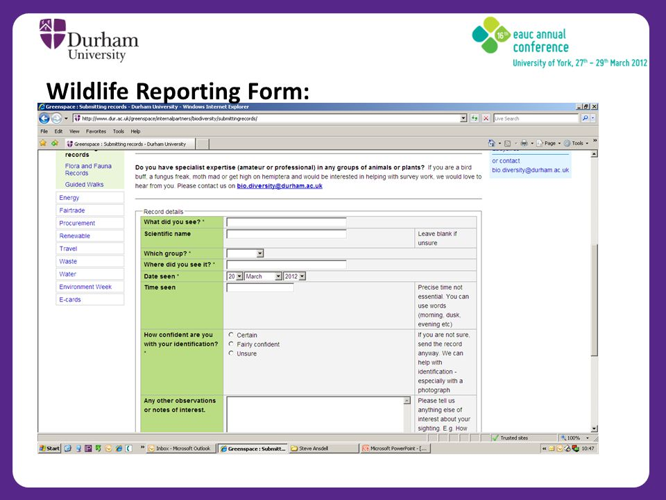 Wildlife Reporting Form:
