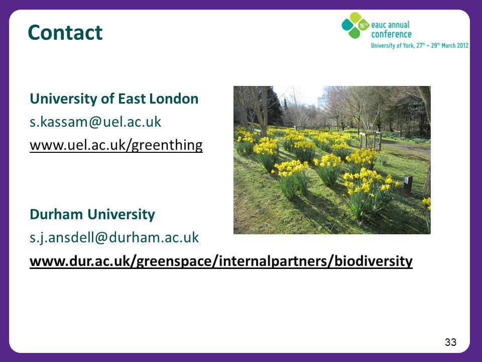 33 Contact University of East London s.kassam@uel.ac.uk www.uel.ac.uk/greenthing Durham University s.j.ansdell@durham.ac.uk www.dur.ac.uk/greenspace/internalpartners/biodiversity