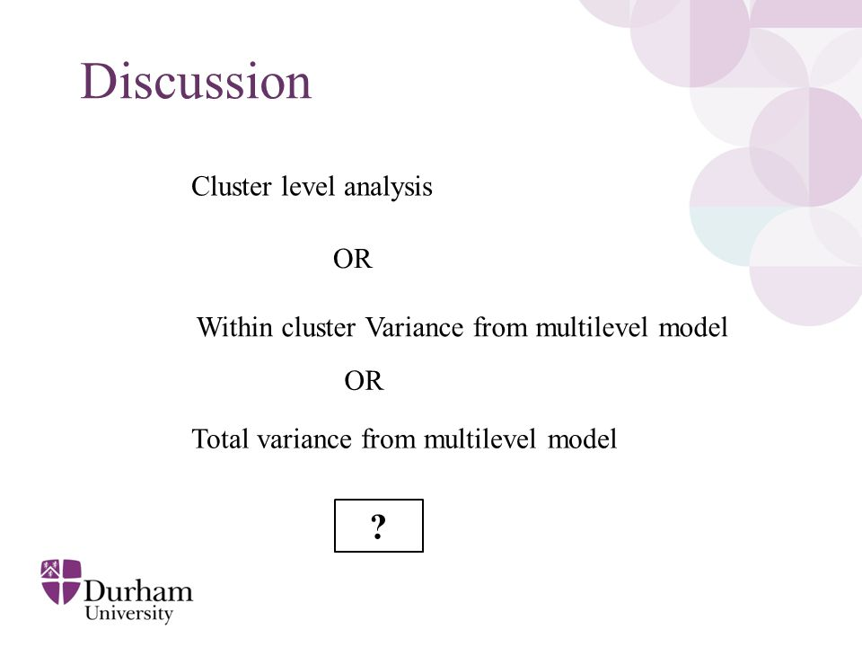 Discussion Total variance from multilevel model Cluster level analysis Within cluster Variance from multilevel model OR ?