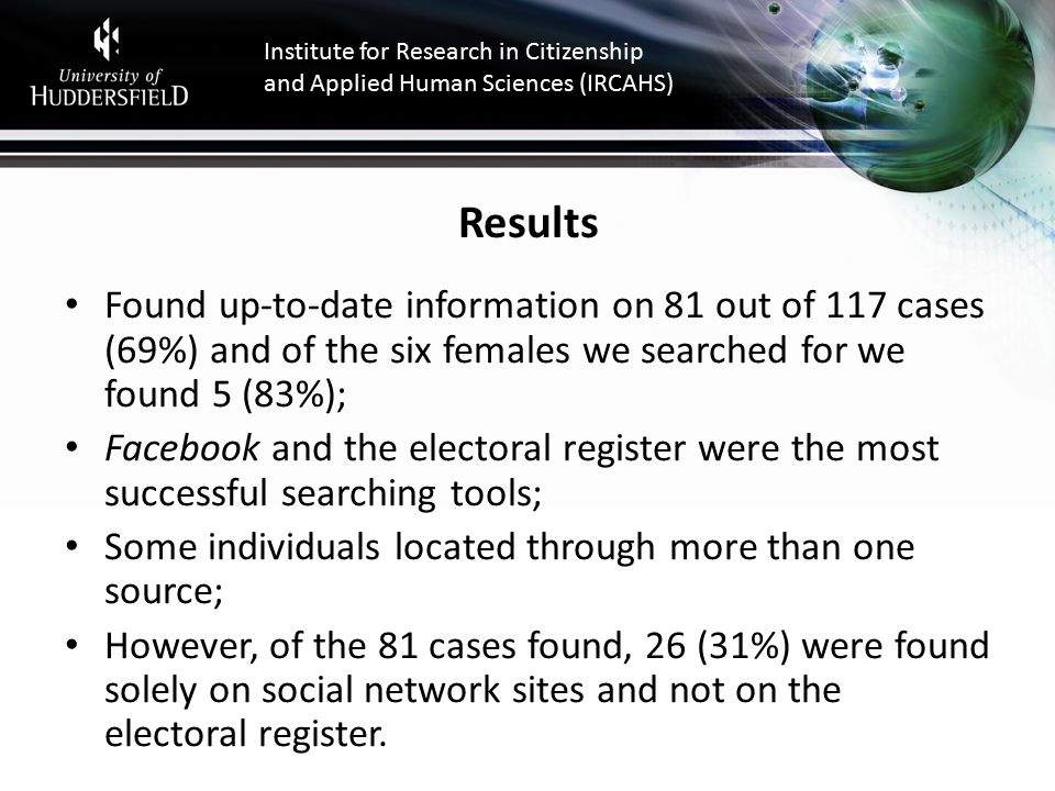 Institute for Research in Citizenship and Applied Human Sciences (IRCAHS) Results Found up-to-date information on 81 out of 117 cases (69%) and of the six females we searched for we found 5 (83%); Facebook and the electoral register were the most successful searching tools; Some individuals located through more than one source; However, of the 81 cases found, 26 (31%) were found solely on social network sites and not on the electoral register.