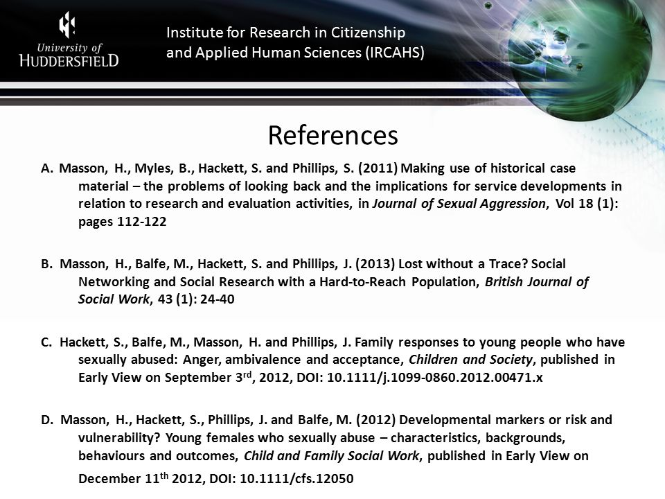 Institute for Research in Citizenship and Applied Human Sciences (IRCAHS) References A.