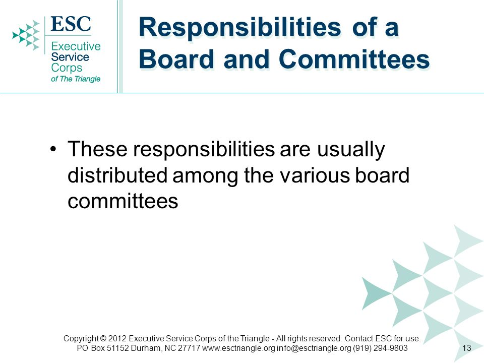 These responsibilities are usually distributed among the various board committees Responsibilities of a Board and Committees 13 Copyright © 2012 Executive Service Corps of the Triangle - All rights reserved.