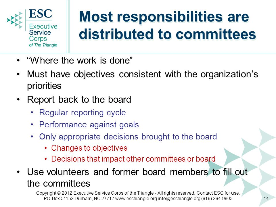 Where the work is done Must have objectives consistent with the organization's priorities Report back to the board Regular reporting cycle Performance against goals Only appropriate decisions brought to the board Changes to objectives Decisions that impact other committees or board Use volunteers and former board members to fill out the committees Most responsibilities are distributed to committees 14 Copyright © 2012 Executive Service Corps of the Triangle - All rights reserved.
