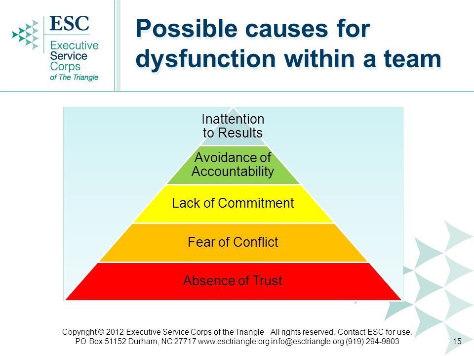 Inattention to Results Avoidance of Accountability Lack of Commitment Fear of Conflict Absence of Trust Possible causes for dysfunction within a team 15 Copyright © 2012 Executive Service Corps of the Triangle - All rights reserved.