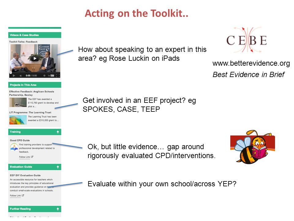 Acting on the Toolkit.. How about speaking to an expert in this area.