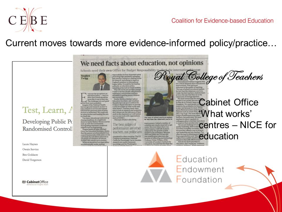 Current moves towards more evidence-informed policy/practice… Cabinet Office 'What works' centres – NICE for education Royal College of Teachers