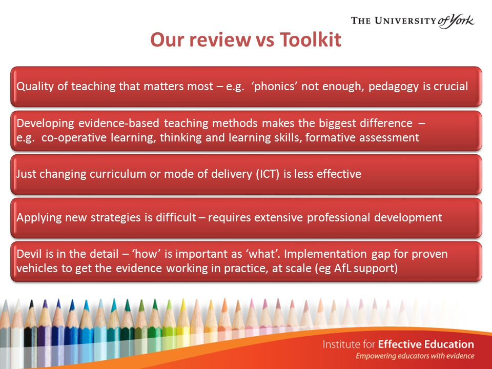 Quality of teaching that matters most – e.g.