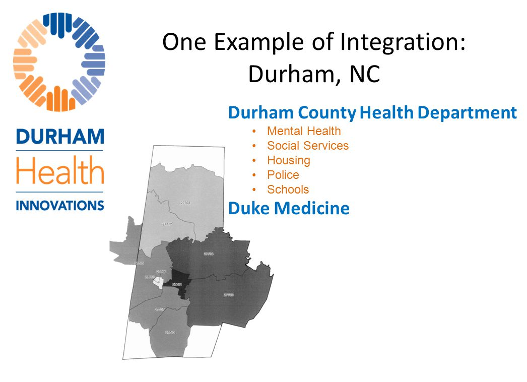 One Example of Integration: Durham, NC Durham County Health Department Mental Health Social Services Housing Police Schools Duke Medicine