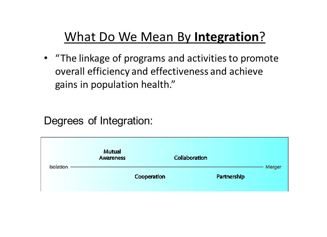 """What Do We Mean By Integration? """"The linkage of programs and activities to promote overall efficiency and effectiveness and achieve gains in populatio"""