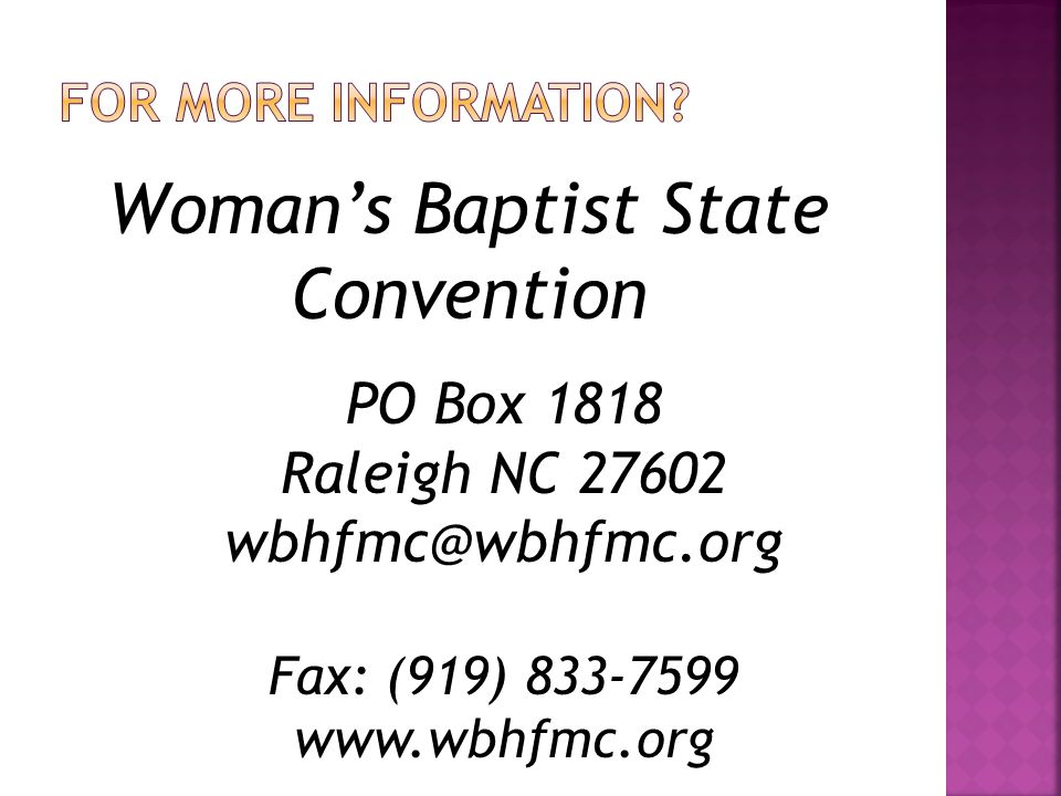 The Why Series Why a Missionary Circle? Why a County Union? Why a Woman's Auxiliary? Why A One-Day District Conference? Published by WBH&FM Convention