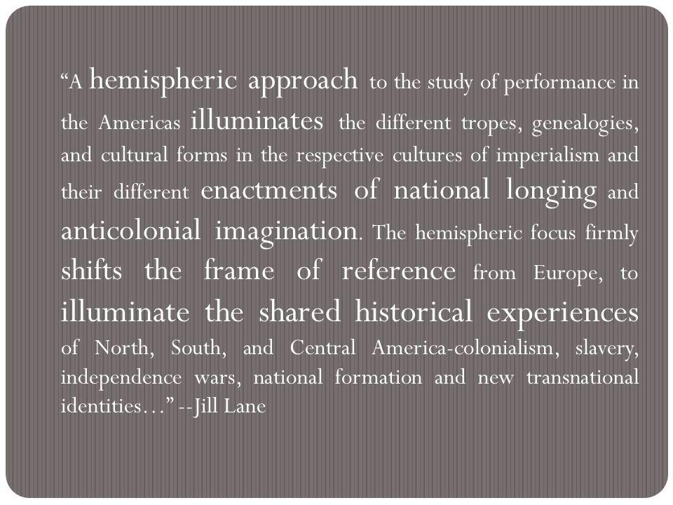 Suggested resource: the Hemispheric Institute for Performance and Politics http://hemisphericinstitute.org