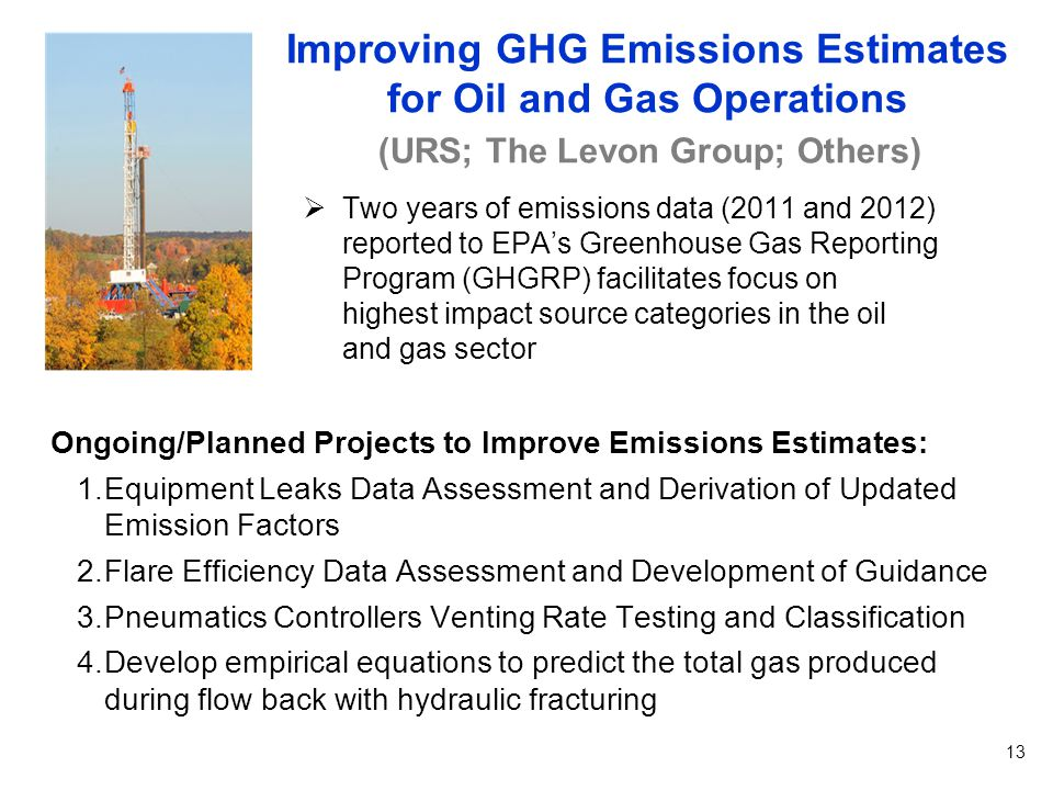  Two years of emissions data (2011 and 2012) reported to EPA's Greenhouse Gas Reporting Program (GHGRP) facilitates focus on highest impact source categories in the oil and gas sector Improving GHG Emissions Estimates for Oil and Gas Operations 13 Ongoing/Planned Projects to Improve Emissions Estimates: 1.Equipment Leaks Data Assessment and Derivation of Updated Emission Factors 2.Flare Efficiency Data Assessment and Development of Guidance 3.Pneumatics Controllers Venting Rate Testing and Classification 4.Develop empirical equations to predict the total gas produced during flow back with hydraulic fracturing (URS; The Levon Group; Others)