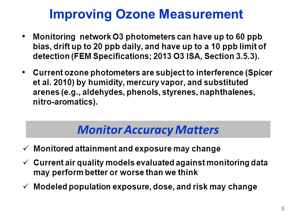 Improving Ozone Measurement API ozone monitor testing in Houston, TX and Durham, NC suggests two new ozone monitors are virtually interference free with ozone measurements lower than those recorded by conventional photometers, particularly during peak ozone days.