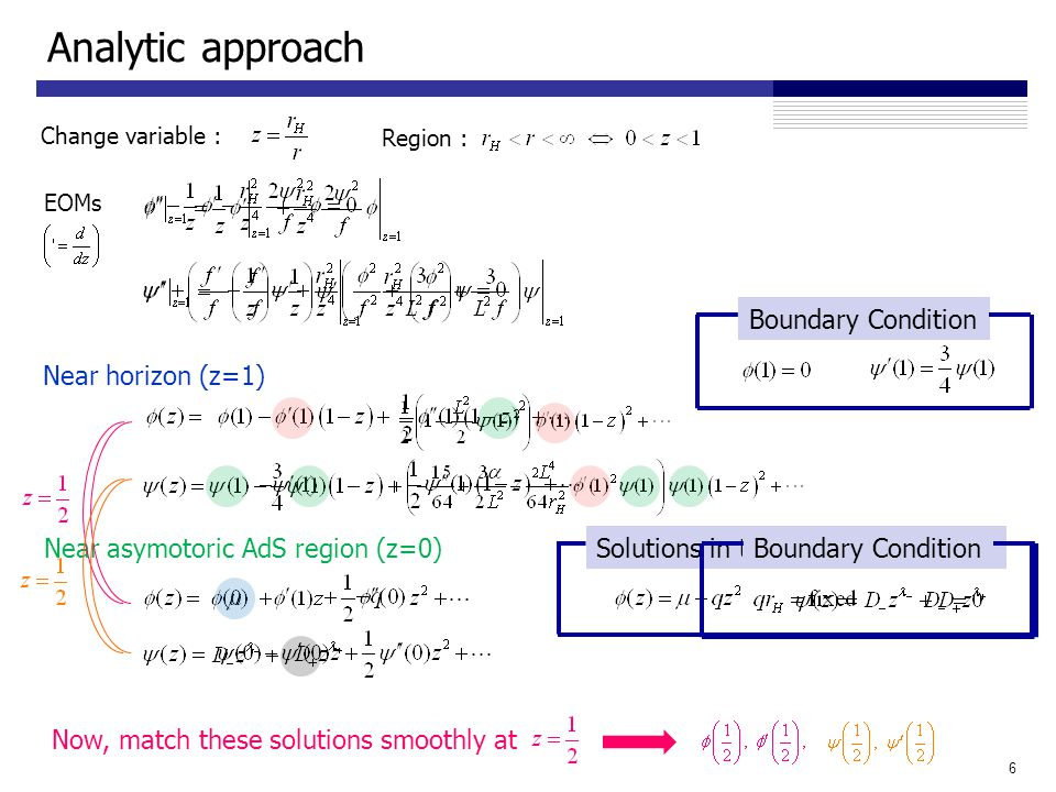 Analytic approach 6 Change variable : EOMs Near horizon (z=1) Near asymotoric AdS region (z=0) Boundary Condition Region : Solutions in the asymptotic region Boundary Condition Now, match these solutions smoothly at