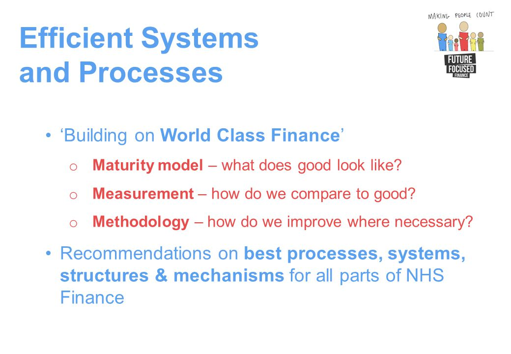 Efficient Systems and Processes 'Building on World Class Finance' o Maturity model – what does good look like.