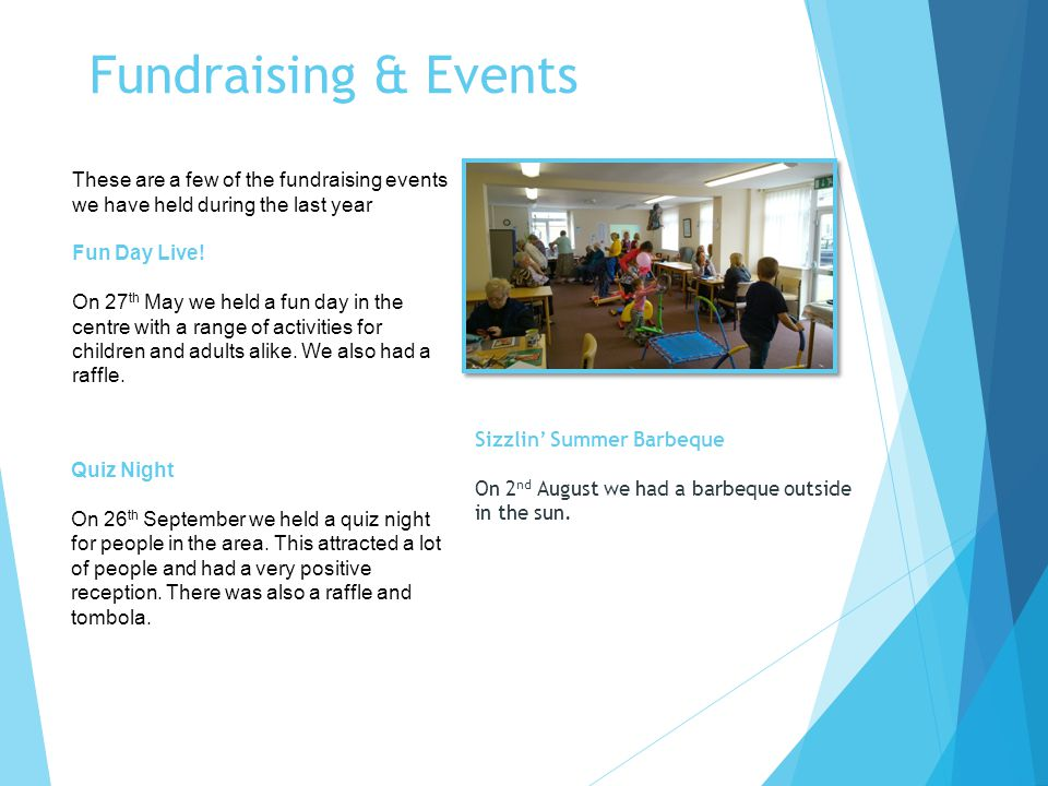 Fundraising & Events These are a few of the fundraising events we have held during the last year Fun Day Live.