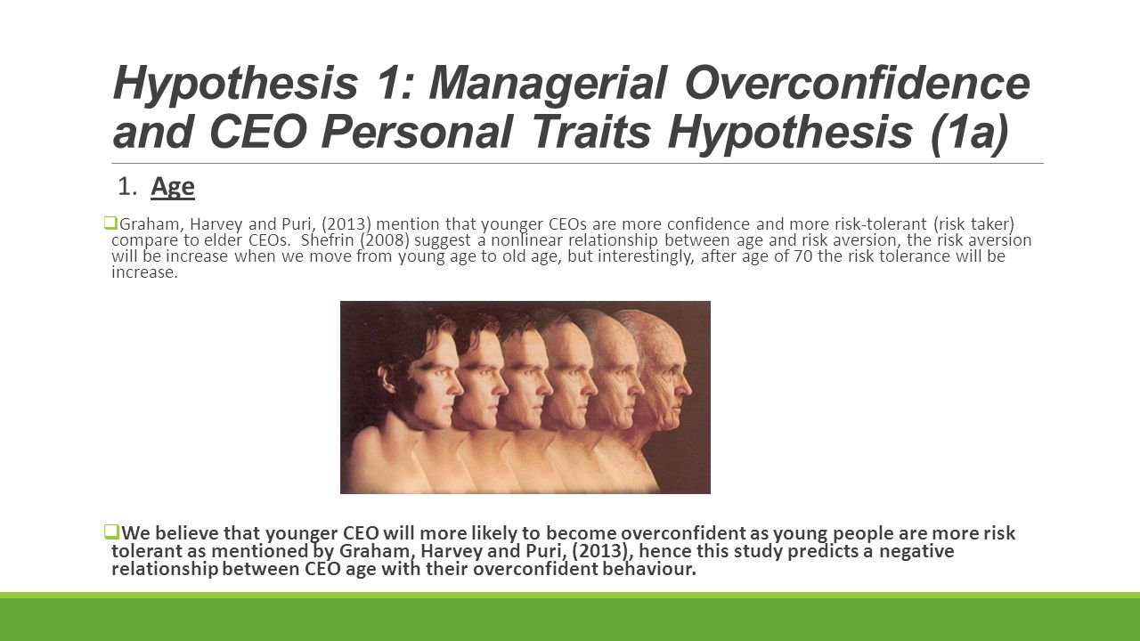 Hypothesis 1: Managerial Overconfidence and CEO Personal Traits Hypothesis (1a) 1.