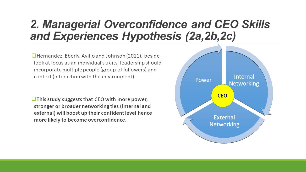 2. Managerial Overconfidence and CEO Skills and Experiences Hypothesis (2a,2b,2c)  Hernandez, Eberly, Avilio and Johnson (2011), beside look at locus