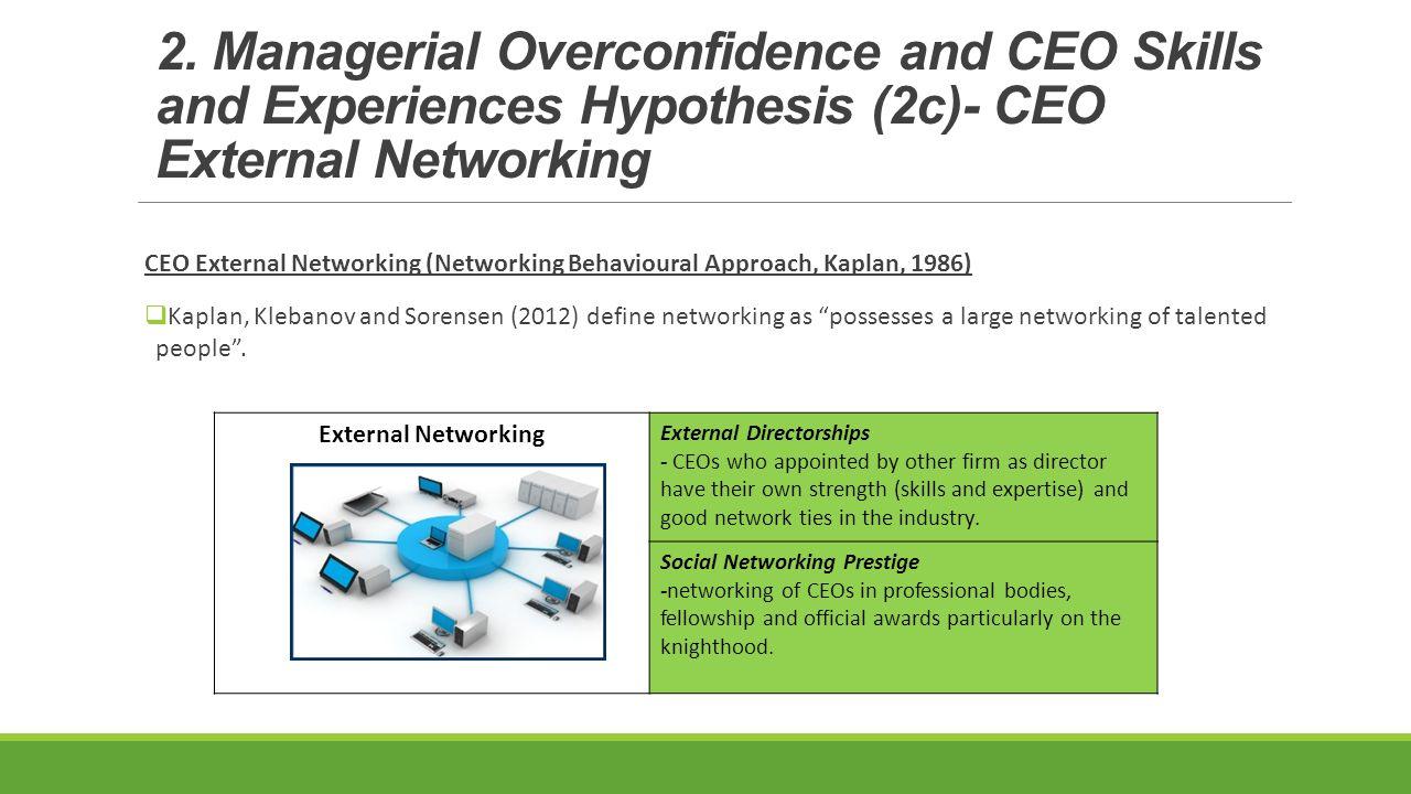 CEO External Networking (Networking Behavioural Approach, Kaplan, 1986)  Kaplan, Klebanov and Sorensen (2012) define networking as possesses a large networking of talented people .