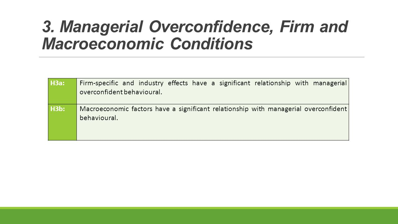 H3a:Firm-specific and industry effects have a significant relationship with managerial overconfident behavioural.
