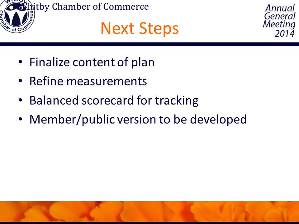 Next Steps Finalize content of plan Refine measurements Balanced scorecard for tracking Member/public version to be developed