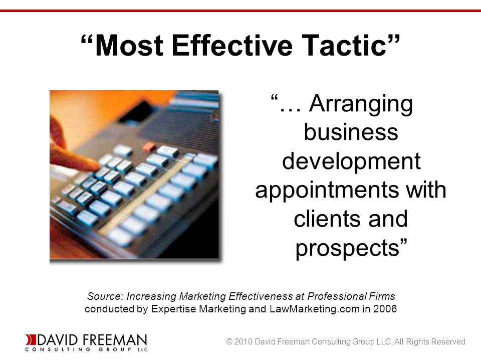 © 2010 David Freeman Consulting Group LLC, All Rights Reserved Most Effective Tactic … Arranging business development appointments with clients and prospects Source: Increasing Marketing Effectiveness at Professional Firms conducted by Expertise Marketing and LawMarketing.com in 2006