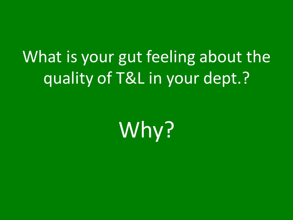 What is your gut feeling about the quality of T&L in your dept.? Why?