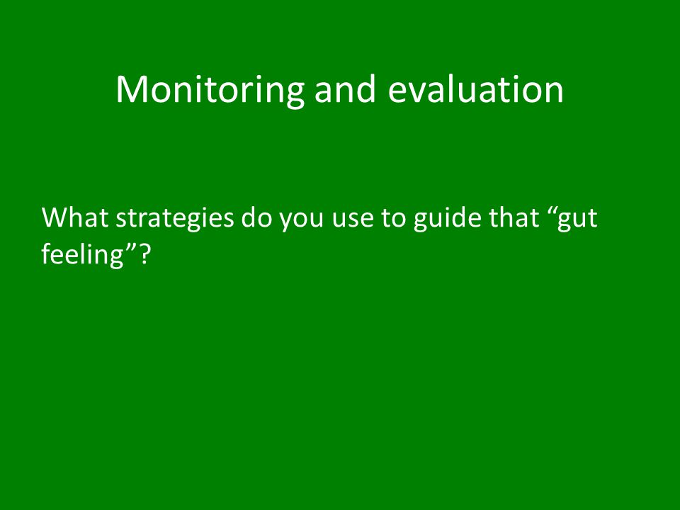 Monitoring and evaluation strategies On the list given, identify which strategies you use.