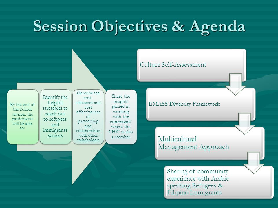 Session Objectives & Agenda Culture Self-Assessment EMASS Diversity Framework Multicultural Management Approach Sharing of community experience with Arabic speaking Refugees & Filipino Immigrants By the end of the 2-hour session, the participants will be able to: Identify the helpful strategies to reach out to refugees and immigrants seniors Describe the cost- efficiency and cost effectiveness of partnership and collaboration with other stakeholders Share the insights gained in working with the community where the CHW is also a member
