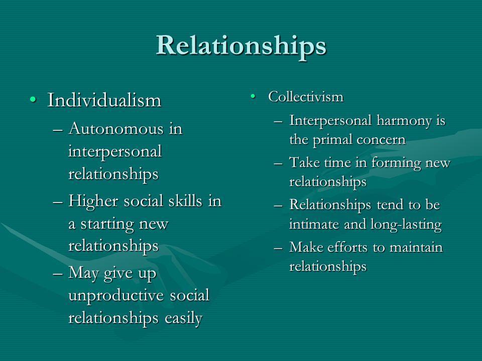 Relationships IndividualismIndividualism –Autonomous in interpersonal relationships –Higher social skills in a starting new relationships –May give up unproductive social relationships easily Collectivism –Interpersonal harmony is the primal concern –Take time in forming new relationships –Relationships tend to be intimate and long-lasting –Make efforts to maintain relationships