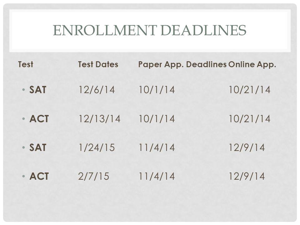 ENROLLMENT DEADLINES TestTest DatesPaper App. DeadlinesOnline App. SAT 12/6/1410/1/1410/21/14 ACT 12/13/1410/1/1410/21/14 SAT 1/24/1511/4/1412/9/14 AC