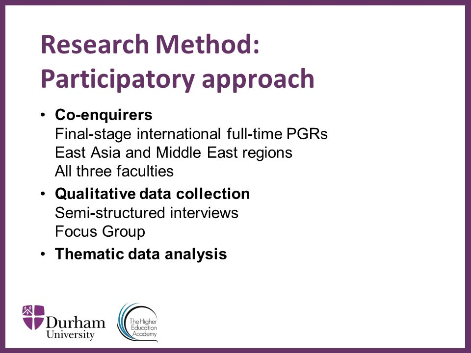 ∂ Research Method: Participatory approach Co-enquirers Final-stage international full-time PGRs East Asia and Middle East regions All three faculties Qualitative data collection Semi-structured interviews Focus Group Thematic data analysis
