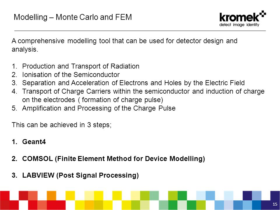 15 A comprehensive modelling tool that can be used for detector design and analysis. 1.Production and Transport of Radiation 2.Ionisation of the Semic