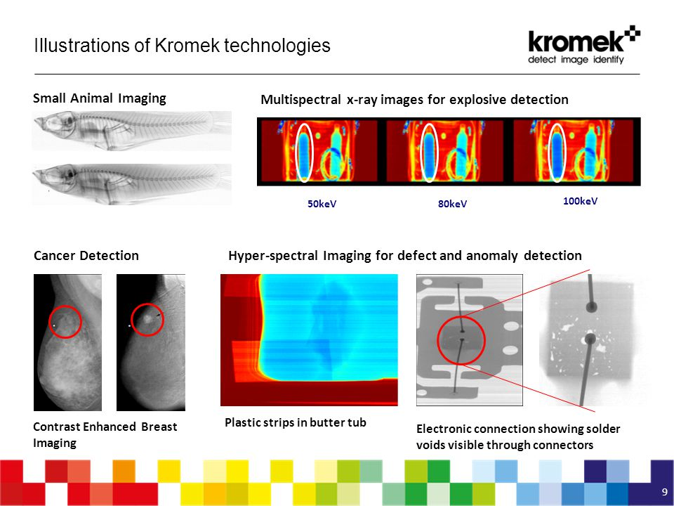 Illustrations of Kromek technologies 9 Small Animal Imaging 50keV 100keV 80keV Plastic strips in butter tub Electronic connection showing solder voids