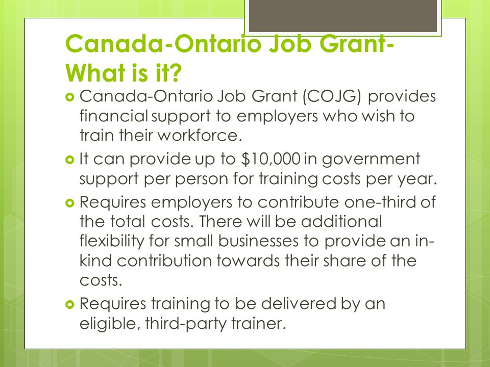 Canada-Ontario Job Grant- What is it.