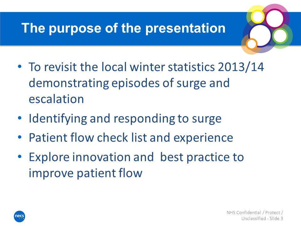 The purpose of the presentation To revisit the local winter statistics 2013/14 demonstrating episodes of surge and escalation Identifying and responding to surge Patient flow check list and experience Explore innovation and best practice to improve patient flow NHS Confidential / Protect / Unclassified - Slide 3