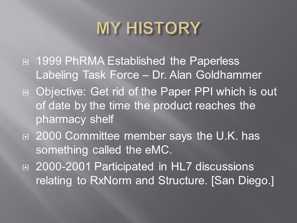  1999 PhRMA Established the Paperless Labeling Task Force – Dr.