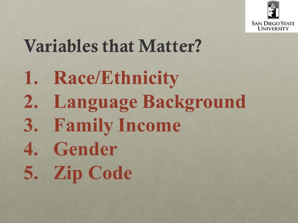 1.Race/Ethnicity 2.Language Background 3.Family Income 4.Gender 5.Zip Code Variables that Matter