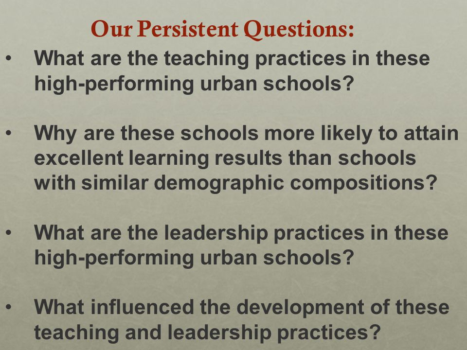 What are the teaching practices in these high-performing urban schools.