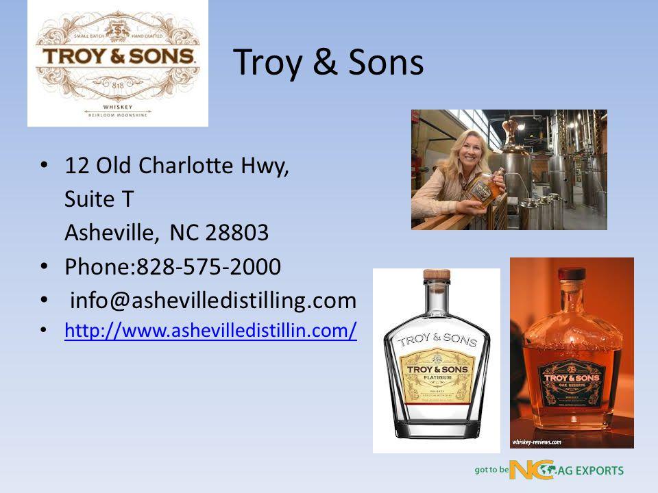 Troy & Sons 12 Old Charlotte Hwy, Suite T Asheville, NC 28803 Phone:828-575-2000 info@ashevilledistilling.com http://www.ashevilledistillin.com/