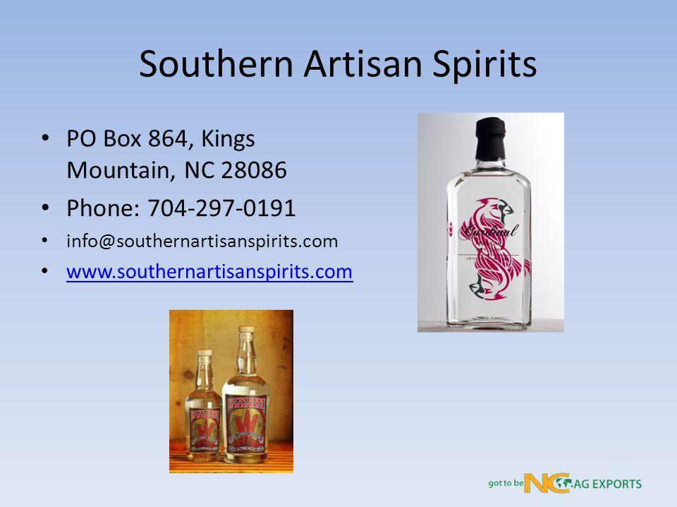 Southern Artisan Spirits PO Box 864, Kings Mountain, NC 28086 Phone: 704-297-0191 info@southernartisanspirits.com www.southernartisanspirits.com