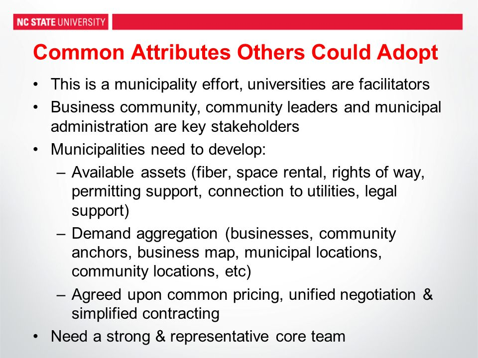 Common Attributes Others Could Adopt This is a municipality effort, universities are facilitators Business community, community leaders and municipal
