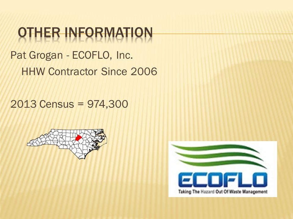 Pat Grogan - ECOFLO, Inc. HHW Contractor Since 2006 2013 Census = 974,300