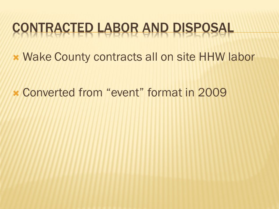  Wake County contracts all on site HHW labor  Converted from event format in 2009