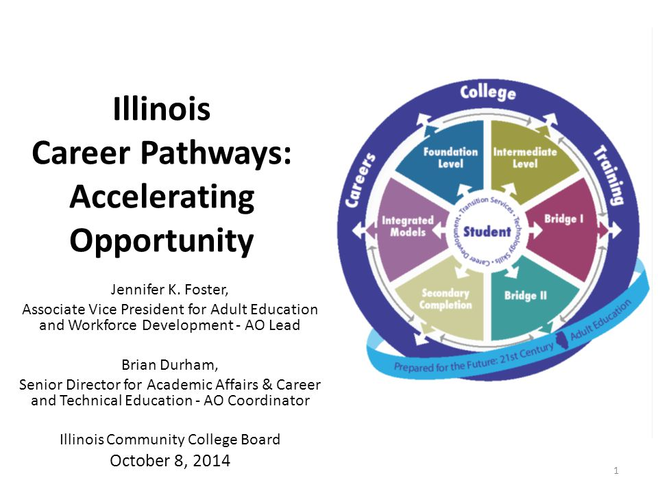 Career Pathways Focused Adult Education Strategic Vision for Adult Education Bridge Programs Accelerating Opportunity Illinois Career & Academic Pathways Career & Technical Education Programs of Study Pathways to Results Illinois Pathways Initiative Veteran's Initiatives Data Complete College America Longitudinal Data System Performance Funding Industry Recognized Credentials Transfer GECC Credential ECE Credentialing Workgroup Bridging the Gap Dual Credit Expansion and Enhancement Grants Workforce Workforce / Education Strategic Plan Workforce Data Quality Initiative Workforce Innovation Fund WIOA